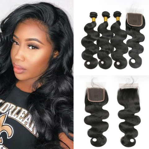 Ustar Natural Black Brazilian Virgin Human Hair Body Wave 3 Bundles with 4x4 Lace Closure
