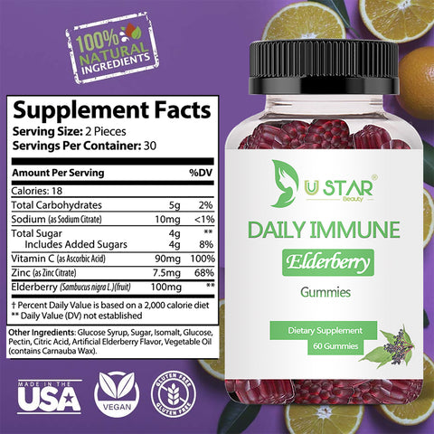 Elderberry Gummies for Adults with Vitamin C & Zinc, Immune System Support, Vegetarian, 60ct | Buy One Get One 50% Off