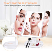 BESTOPE Makeup Vanity Mirror with Lights,3 Color Lighting Modes 72 LED Trifold Mirror with Touch Screen, 2X/3X Magnification Portable High Definition Cosmetic Lighted Up Mirror