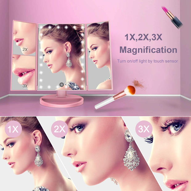 On Sale: BESTOPE Makeup Mirror with Lights 21 Led Vanity Mirror  Color Rose Gold     &  BESTOPE Nail Clipper Set Sharp Fingernail Clippers