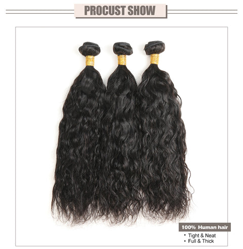 Ustar Virgin Hair 3 Bundles with 4 by 4 Lace Closure Water Wave (Natural Wave)