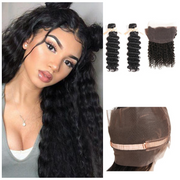 Ustar Natural Black Virgin Deep Wave Hair 2 Bundles with 360 Frontal
