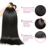 "Valentine's Day Sale:  Ustar Natural Black Virgin Straight ,Body Wave, Deep Wave, Natural Wave, Loose Wave with Jerry Curly 8""10""12""Bundle With 10"" 4 By 4 Lace Closure Hair"