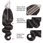 Body Wave  2x6Lace Closure Brazilian Virgin Human Hair Free Part Natural Color Closure (10-22 inch, Body Wave Lace Closure)