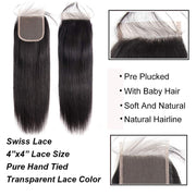 Straight Lace Closure Transparent 4x4 Lace Closre Brazilian Virgin Human Hair Free Part Natural Color Closure (10-22 inch, Straight Lace Closure)
