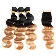 "Valentine's Day Sale: Ustar Virgin Human Hair Ombre color 1B/27 Body Wave 3 Bundles 26""28""28""+  4 X 4 Closure 22"""