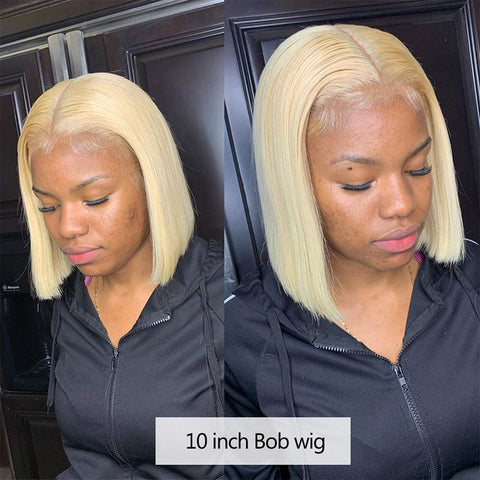 "Short Bob Wigs 8""-14"" Bleached Knots Silky Straight 13x4 & 13x6 Lace Front Human Hair Bob Wig for Women Thick 150% Density 613# Virgin Hair Lace Wigs with Baby Hair Around (Code: First15)"