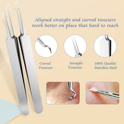 BESTOPE Upgraded 6-in-1 Blackhead Remover Pimple Comedone Extractor Tool Acne Removal Kit - Treatment for Blemish, Whitehead Popping, Zit Removing for Risk Free Nose Face Skin - Silver