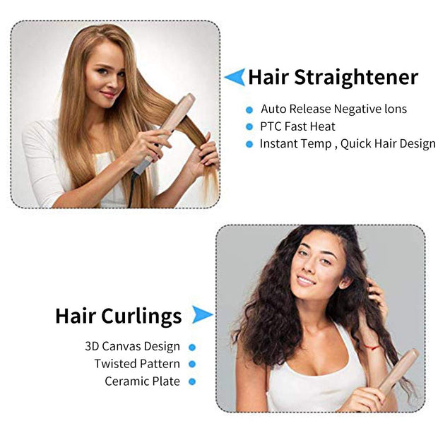 2 in 1 Hair Straightener and Curler, Twist Flat Iron for All Hair Types