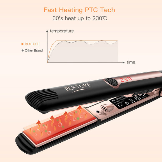 BESTOPE Hair Straighteners Ionic Tourmaline Ceramic Straighteners Professional Flat Iron Hair Plate Straightening with Dual Voltage, 230℃ High Heat, LCD Display (1INCH)