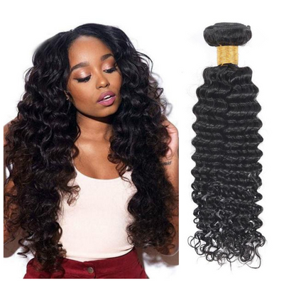 Ustar Affordable 100% Remy Human Hair bundle Natural Black color Deep Wave One bundle Deal 10 in to 30 Inch
