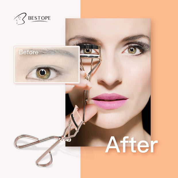 BESTOPE Eyelash Curler Eye Lashes Clip Fits All Eye Shape Essential Cosmetic Makeup Accessory for Ladies with A Satin Bag & 8 Refill Pads