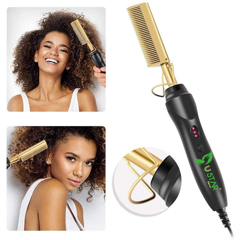 USTAR Hot Comb Hair Straightener - Electric Straightening Comb for African American Hair and Wigs - Technology Hair Straightener for Wet and Dry Hair - Quick Heated Comb for Men Long Beard