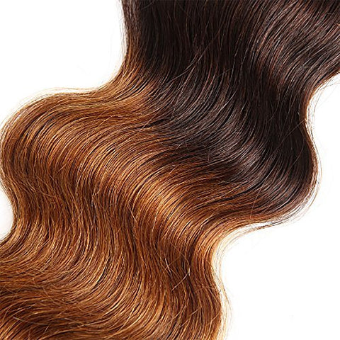 "Valentine's Day Sale: Ustar Virgin Human Hair Ombre color 4/30 Body Wave 3 Bundles 26""28""28""+  4 X 4 Closure 22"""