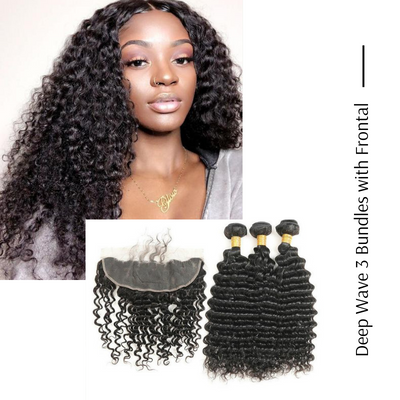 Ustar Natural Black Virgin Deep Wave Hair 3 Bundles with Frontal