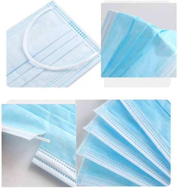 Anti Dust Disposable with Earloops Breathable Non-Woven Filter Face Facial Masks, Breathable 3 Layer - Blue