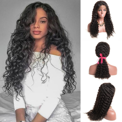 Ustar Lace Frontal Wig 150% Density Deep Wave Virgin Remy Human Hair Natural Black