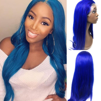 Ustar Lace Frontal Wig Hot Blue color, 150% Density Straight Hair
