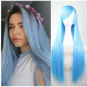 Ustar Lace Frontal Wig Hot Light Blue color, 150% Density Straight Hair