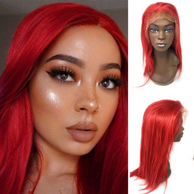 Ustar Lace Frontal Wig Hot Red color, 150% Density Straight Hair