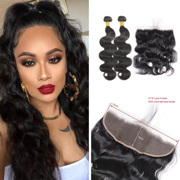 Ustar Natural Black Virgin Hair Body Wave 2 Bundles with Frontal