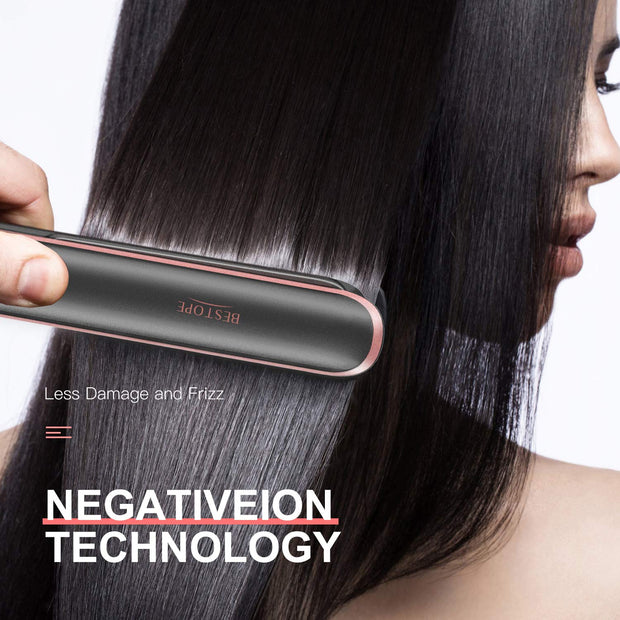 Hair Straightener, BESTOPE Professional Flat Iron for Hair with Touchscreen Ceramic Tourmaline Temp Lock Function, Negative Ionic and Adjustable Temperature for All Hair Types(1 Inch)