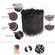 "Brazilian Virgin Hair  13x4 Transparent Lace Frontal Free Part Bleached Knots Baby Hair Lace Frontal Piece 16""--22"" inch"