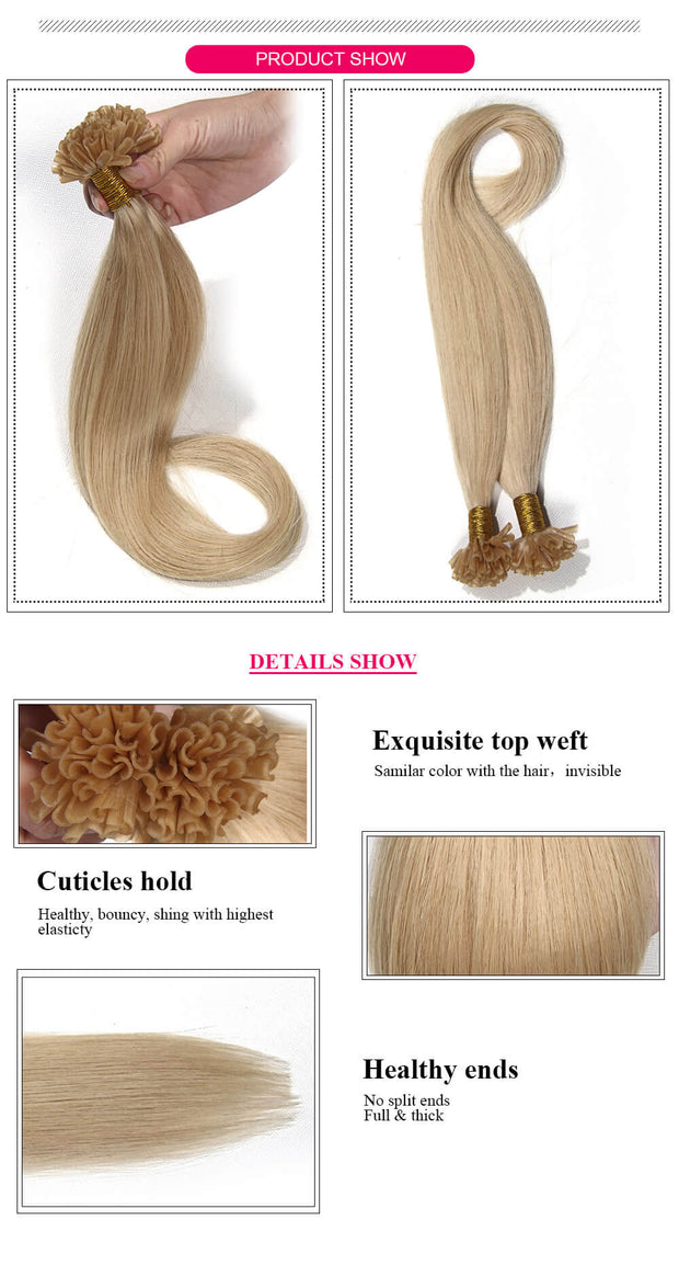 Ustar 100% Human Hair Quality U Tip Hair Extensions #613