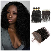 Ustar Natural Black  Virgin Deep Wave Hair 3 Bundles with 360  Frontal