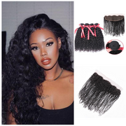 Ustar Natural Black Virgin  Jerry Curly  Hair 3 Bundles with Frontal