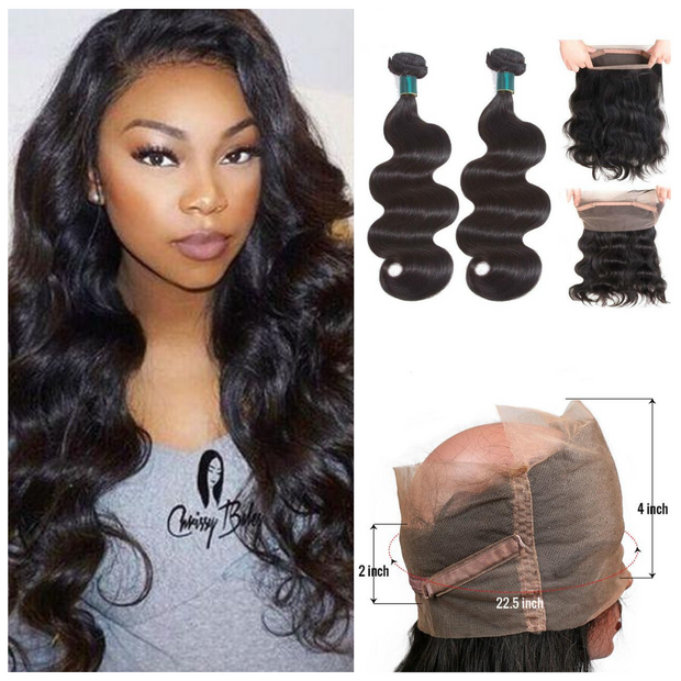 Ustar Natural Black Virgin Body Wave  Hair 2 Bundles with 360 Frontal