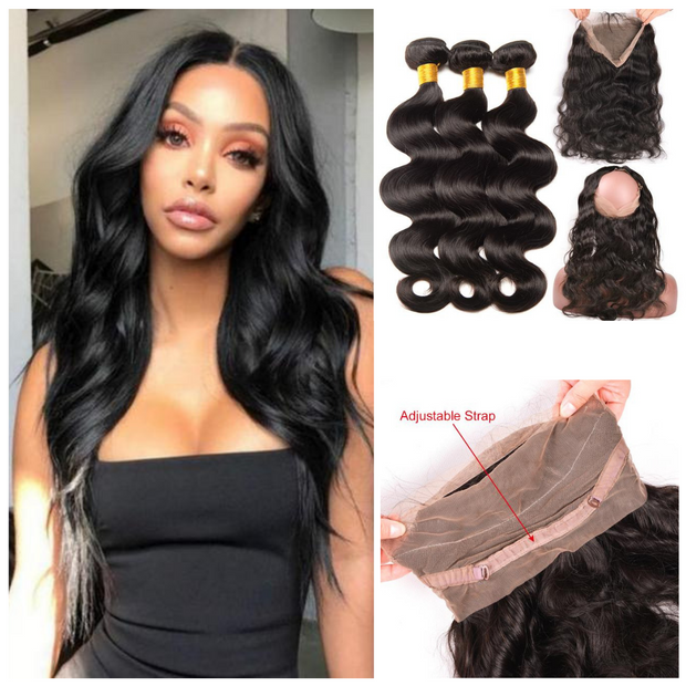 Ustar Natural Black Virgin Brazilian Body Wave Hair 3 Bundles with 360 Lace Frontal
