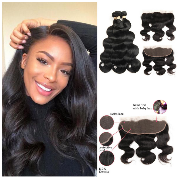 Ustar Natural Black Virgin Body Wave Hair 3 Bundles with Frontal