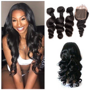 Ustar Natural Black Virgin Bouncy Loose Wave Hair 3 Bundles  with  4 by 4 Lace Closure