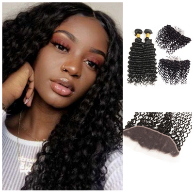 Ustar Natural Black Virgin Deep Wave  Hair 2 Bundles with Frontal