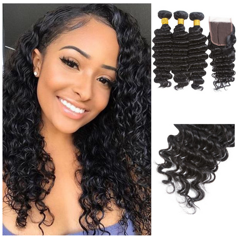 Ustar Natural Black Virgin Deep Wave  Hair 3 Bundles  with  4 by 4 Lace Closure