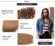 Ustar 100% Human Hair Quality U Tip Straight Hair Extensions  #12