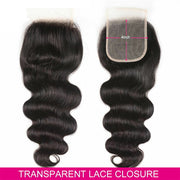 Body Wave  Lace Closure Transparent 4x4 Lace Closre Brazilian Virgin Human Hair Free Part Natural Color Closure (10-22 inch, Body Wave Lace Closure)