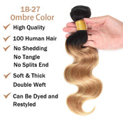 Ustar Ombre #1B/27  Black & Blonde Body Wave 100% Virgin Hair
