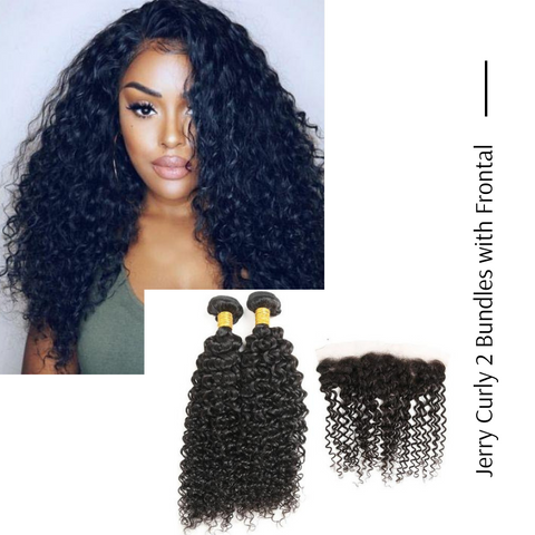 Ustar Natural Black Virgin Human Hair Jerry Curly Hair 2 Bundles with Frontal