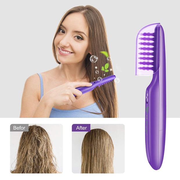 Ustar Purple Electric Detangling Brush - Wet or Dry Tame The Mane Electric Detangling Brush with Brush Cover, Adults & Kids Hair Tool (Battery not included)