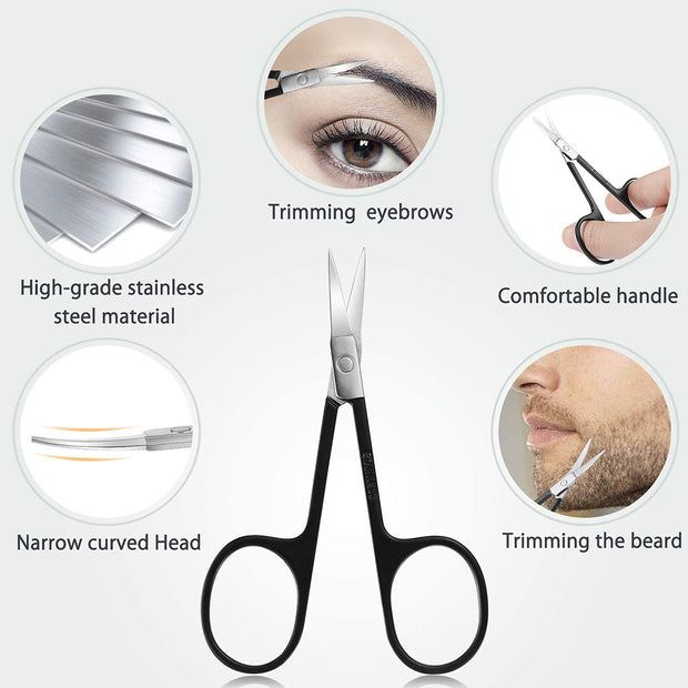 BESTOPE Eyebrow Tweezers Set 6 Piece Professional Stainless Steel Precision Tweezer for Eyebrows Plucking Ingrown Hair Removal, with Razor and Scissors, Daily Beauty Tool for Women and Men