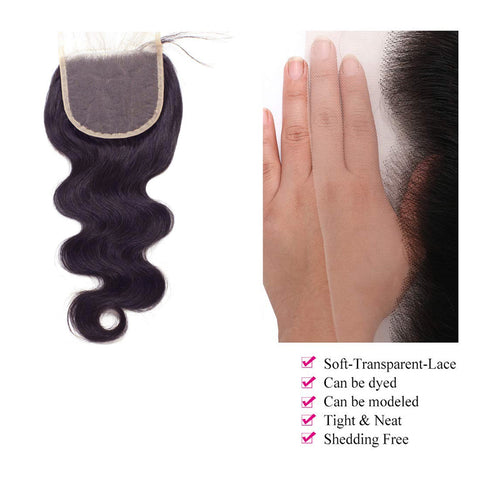 Body Wave  Lace Closure 5x5 Transparent Brazilian Virgin Human Hair Free Part Natural Color Closure (10-22 inch, Body Wave Lace Closure)