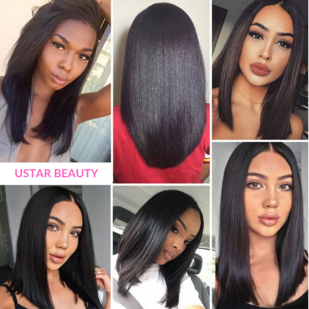 JENNIFER 100% Human Hair Lace Closure Wig 19 Inch 1B
