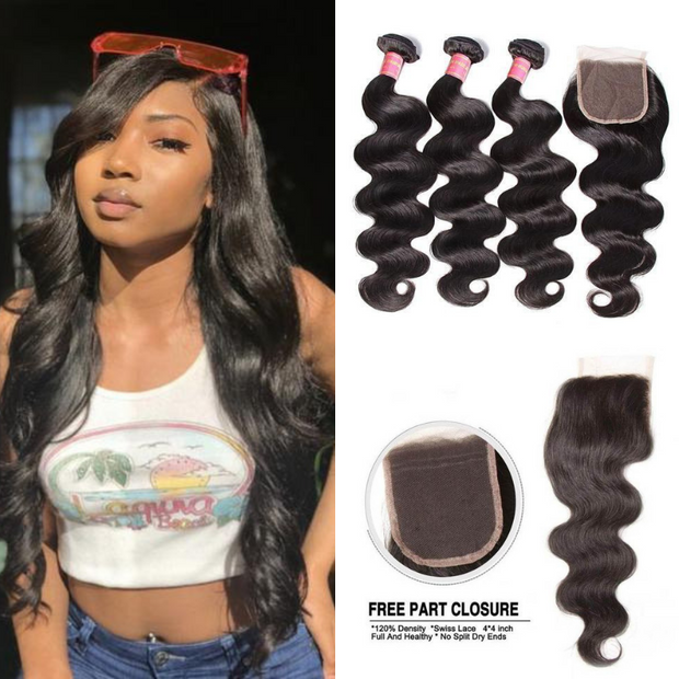 Ustar Natural Black Virgin Loose Wave  Hair 3 Bundles  with  4 by 4 Lace Closure