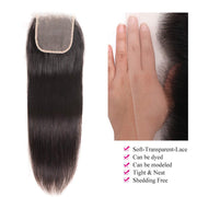 Straight Lace Closure 5x5 Transparent Lace Closure Brazilian Virgin Human Hair Free Part Natural Color Closure (10-22 inch, Straight Lace Closure)
