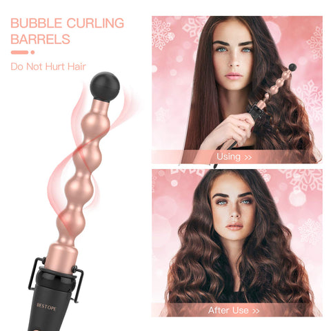 BESTOPE 5 in 1 Ceramic Curling Iron Wand Set with 5 Interchangeable Ceramic Barrels (0.35'' to 1.25'') and Heat Resistant Glove - Rose Gold