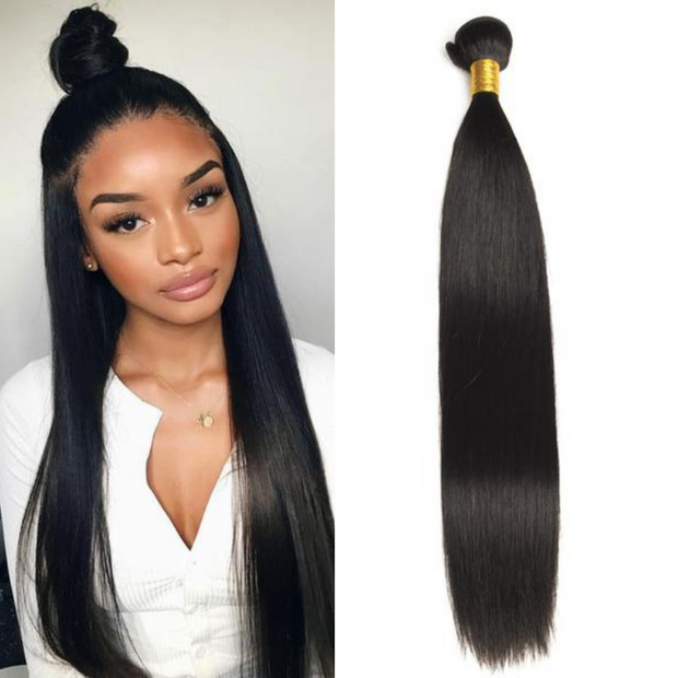 Ustar Affordable 100%  Remy Hair Bundles 1B Off Black Straight 8 inch to 26 inch