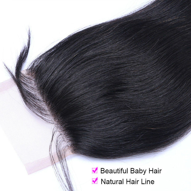 Ustar 100% Huamn Hair   4X4 Free Part  CLOSURE Straight