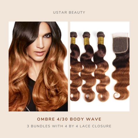 Ustar 100% Human Hair Ombre 4/30 Body Wave 3 Bundles with 4 by 4 Lace Closure